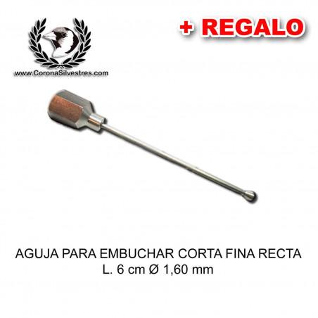 Aguja para embuchar corta fina recta L. 6 cm Ø 1,60 mm + Jeringa de REGALO