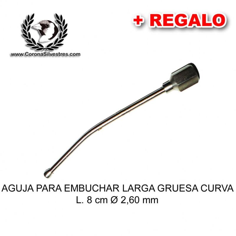 Aguja para embuchar larga gruesa curva L. 8 cm Ø 2,60 mm + Jeringa de REGALO