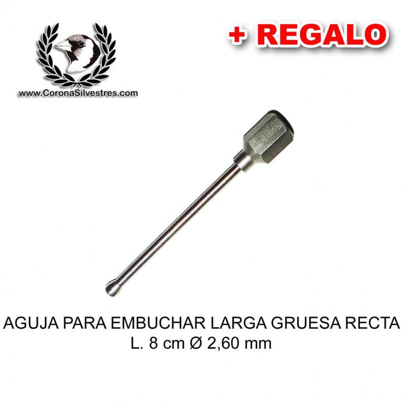 Aguja para embuchar larga gruesa recta L. 8 cm Ø 2,60 mm + Jeringa de REGALO