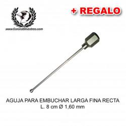 Aguja para embuchar larga fina recta L. 8 cm Ø 1,60 mm + Jeringa de REGALO
