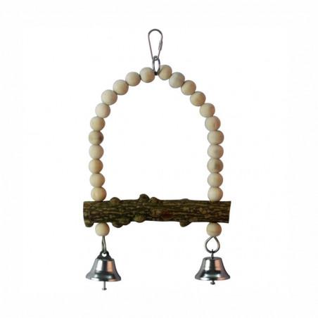 Columpio Madera Natural con campanas para pájaros