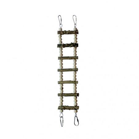 Escalera de madera natural para pájaros