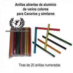 Anillas abiertas de aluminio colores