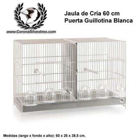Jaula de cría 60 cm Puerta Guillotina Blanca