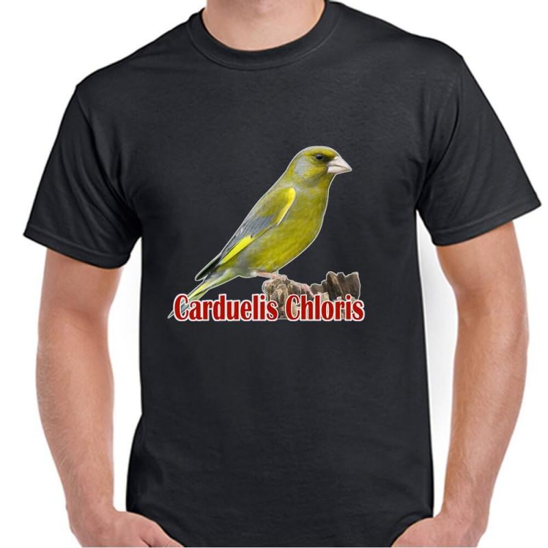 Camiseta Negra con Jilguero 100% Algodón Impresión Vinilo