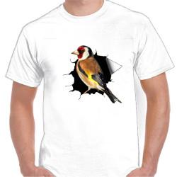 Camiseta Blanca con Jilguero y Roto 100% Algodón Impresión Vinilo
