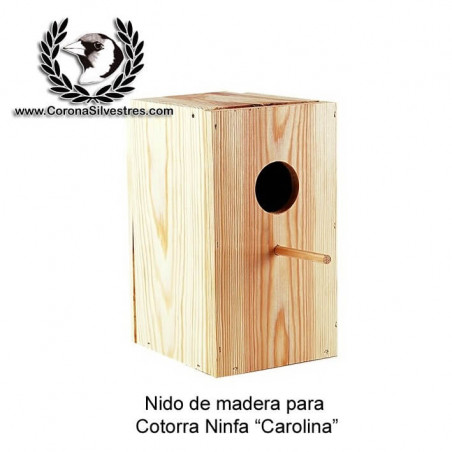 Nido de madera para cotorra Ninfa Carolina