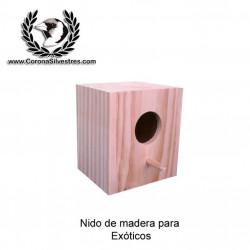 Nido de madera para exóticos