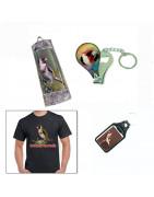 Camisetas,Llaveros y otros productos promocionales con motivos Ornitológicos